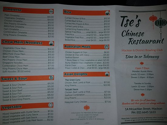 Tse's Restaurant - Accommodation VIC